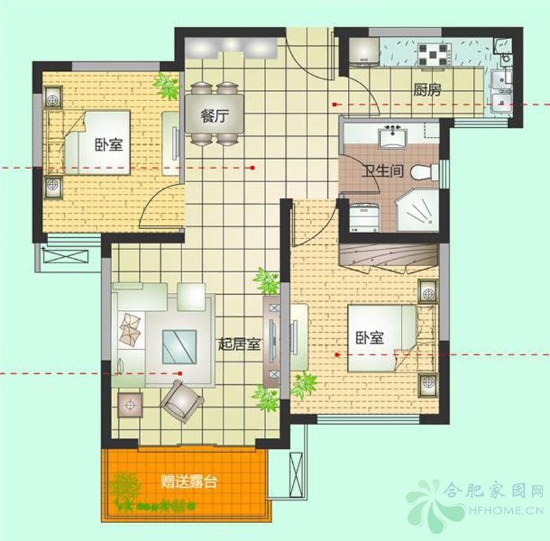 中铁国际城80平米户型图高清图片