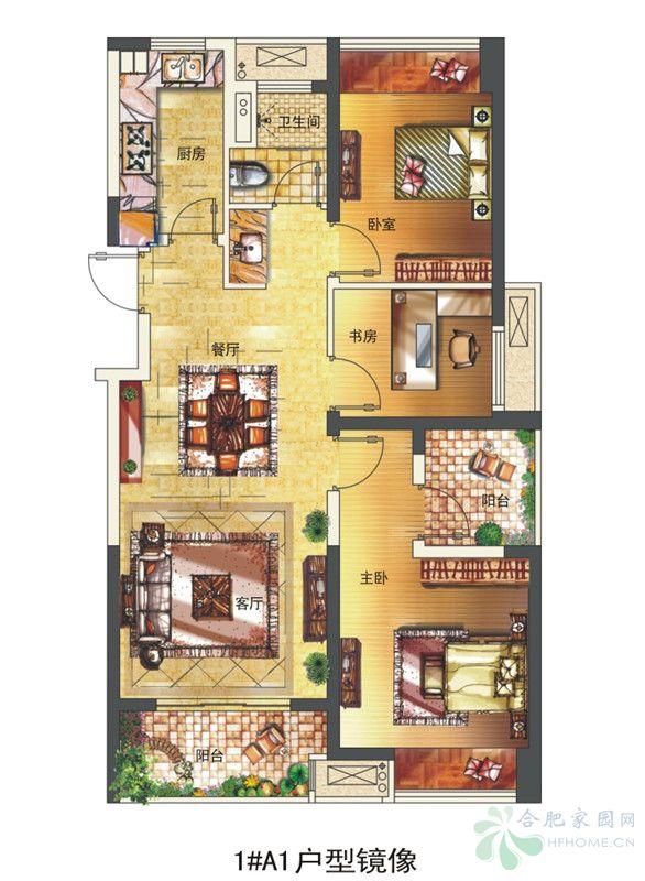 长虹世纪荣廷1#楼a1户型(镜像)-3室2厅1卫