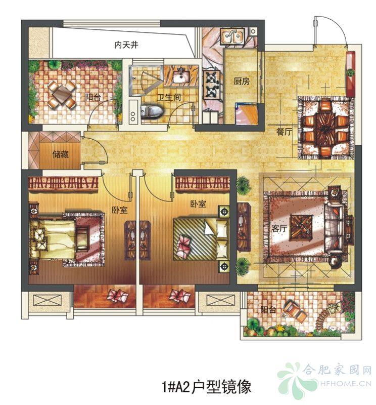 长虹世纪荣廷1#楼a2户型(镜像)-2室2厅1卫
